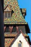 dziejowy miasta schwaebisch gmuned wyszczególnia ornamenty i fasady obraz royalty free