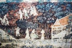 Dziejowy miejsce, Wat Ubosatharam Świątynia mieści wiele artefakty tak jak ścienni malowidła ścienne reprezentuje styl wczesny Ra zdjęcia royalty free