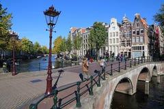 Dziejowy most w Amsterdam, Holandia Obrazy Stock