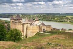 Dziejowy średniowieczny forteczny Khotyn miasteczko Zdjęcie Stock