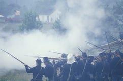 Dziejowy reenactment bitwa Manassas, zaznacza początek Cywilna wojna, Virginia Obrazy Royalty Free