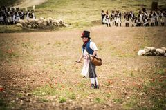 Dziejowy reenactment Napoleońskie wojny w Burgos na Czerwu 12, Hiszpania, 2016 obraz royalty free