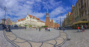 Dziejowy rynek z piękną starą architekturą, Wroclaw, Zdjęcie Stock