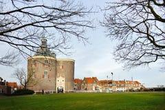 Dziejowy stary kasztel w holandii mieście Enkhuizen Obrazy Stock