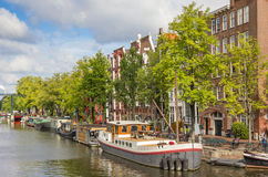 Dziejowy statek w kanałach Amsterdam Zdjęcia Royalty Free