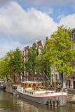 Dziejowy statek w kanałach Amsterdam Fotografia Royalty Free