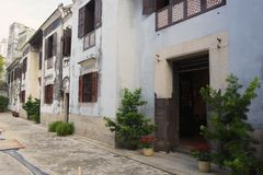 Dziejowy tradycyjny bogaty mandarynka dom w Macau, Chiny zdjęcia stock
