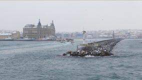 Dziejowy widok Haydarpasa teren od morza zdjęcia stock