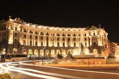 Dzielnica biznesu w Rzym przy nocą Obrazy Stock