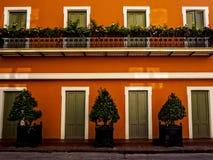 Dzielnica Francuska budynek z drzwiami i roślinami obrazy royalty free