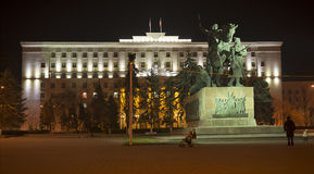 Dzielnicowy budynek zaświecająca parlament dekoracyjna iluminacja Zdjęcia Stock
