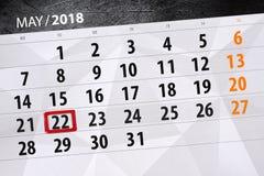 Dzienna biznesu kalendarza strona 2018 Maj 22 Zdjęcia Stock