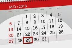 Dzienna biznesu kalendarza strona 2018 Maj 29 Fotografia Royalty Free