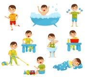 Dzienna rutyna śliczny chłopiec set, dzieciaki aktywność, chłopiec robi sportom, brać skąpanie, mieć śniadanie, czytelnicza książ royalty ilustracja