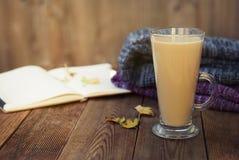 Dzienniczek, filiżanka gorący kakao, ciepły szalik i jesień liście na drewnianym tle, Kopiujemy sapce wygodny jesień pojęcia odos fotografia royalty free