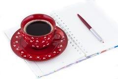 Dzienniczek i kawa Obrazy Royalty Free