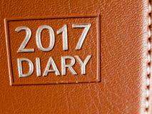 2017 dzienniczek skóry planowanie, up zamknięta tekstura i Zdjęcie Royalty Free