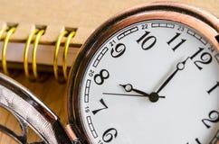 Dzienniczek z rocznika zegarem Zdjęcie Royalty Free