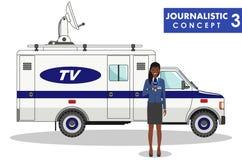 Dziennikarski pojęcie Szczegółowa ilustracja, wiadomość samochód w mieszkanie stylu na białym tle lub ilustracja wektor