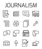 Dziennikarstwo ikony powiązany wektorowy set ilustracji