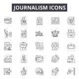 Dziennikarstwo kreskowe ikony, znaki, wektoru set, liniowy pojęcie, kontur ilustracja ilustracji