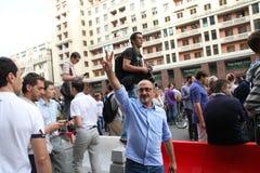 Dziennikarz Aleksander Morozov przy wiecami w poparciu dla polisę Alexei Navalny Zdjęcia Stock