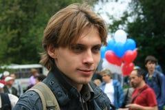 Dziennikarz Ilya Barabanov przy wiecem rosjanin zdjęcia royalty free