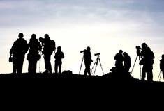 dziennikarz sunrise czeka. Zdjęcie Royalty Free