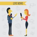 Dziennikarz wiadomości reportera wywiadu mienia mikrofony na tle ręki rysować środki masowego przekazu ikony royalty ilustracja