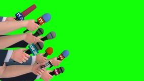 Dziennikarza wywiad z mikrofonami, boczny widok, 3D animacja, zieleń ekran ilustracji
