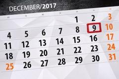 Dzienny kalendarz dla Grudnia 9 Fotografia Royalty Free