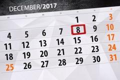 Dzienny kalendarz dla Grudnia 8 Zdjęcie Stock