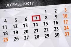 Dzienny kalendarz dla Grudnia 7 Fotografia Royalty Free