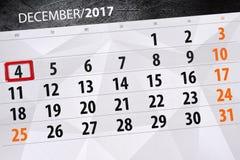 Dzienny kalendarz dla Grudnia 4 Fotografia Stock