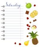 Dzienny karmowy dzienniczek z zdrowym jedzeniem ilustracja wektor