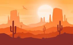 Dzienny kreskówki mieszkania stylu pustyni krajobraz royalty ilustracja