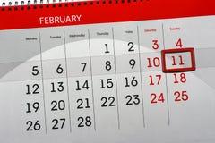 Dzienny miesiąc Odizolowywający Kalendarzowy Scheduler 2018 Luty 11 Zdjęcie Royalty Free