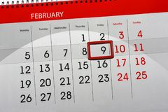 Dzienny miesiąc Odizolowywający Kalendarzowy Scheduler 2018 Luty 9 Obraz Royalty Free