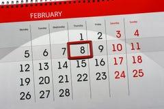 Dzienny miesiąc Odizolowywający Kalendarzowy Scheduler 2018 Luty 8 Fotografia Stock