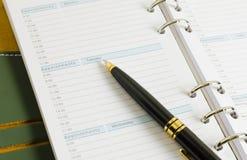 Dzienny notatnik z piórem Zdjęcie Stock