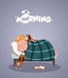 Dzienny ranku życie Psy próbuje budzili się właściciela royalty ilustracja