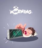 Dzienny ranku życie Wczesnego poranku budzik ilustracji