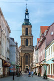 Dzierzoniow - a city in southwestern Poland. Dzierzoniow, Poland - June 13, 2015: View of the church dedicated to Mary, Mother of the Church. The church in the Stock Photos
