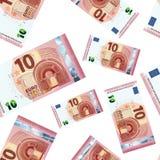 Dziesięć euro banknotów, bezszwowy wzór royalty ilustracja