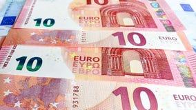 Dziesięć euro pieniądze tło Obraz Stock