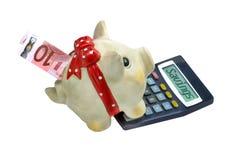 Dziesięć euro rachunek w prosiątko banku z kalkulatorem Obrazy Royalty Free
