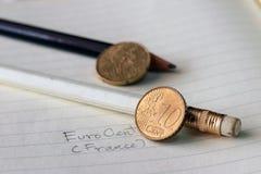 Dziesięć Francja euro cent na odwrotności, mapa, obok twarzowej wartości, symbolizuje zgromadzenie narody Europejski zjednoczenie obraz stock