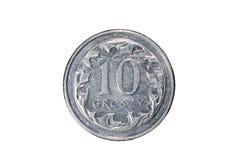 Dziesięć groszy polerujący złoty Waluta Polska Makro- fotografia moneta Polska przedstawia połysk groszy monetę Zdjęcie Royalty Free