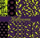 Dziesięć Halloweenowych bezszwowych wzorów Wzór z Lampowym Jack, czarownica z nietoperzami symbole halloween Obraz Royalty Free
