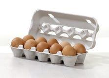 Jajka w kartonu pudełku Fotografia Royalty Free